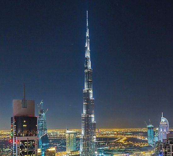 FTB 205 high intensity xenon lighting system sits atop Burj Khalifa, Dubai, UAE