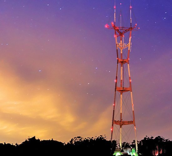 FTB 225 high intensity xenon strobes protect airspace at Sutro Broadcast Tower, San Francisco