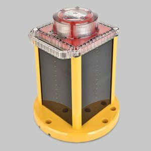 This OL800 solar LED red obstruction light casing houses both the large and standard models