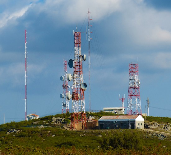 FTW GPRS communications towers are painted red for day and lit with red lights at night