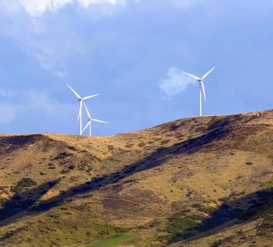 Cham Longe wind farm in Ardèche, France is lit by FTB 310 tower lighting system