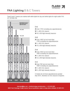 Diagram depicting FAA lighting for B and C-type towers under AC 70/7460-1L