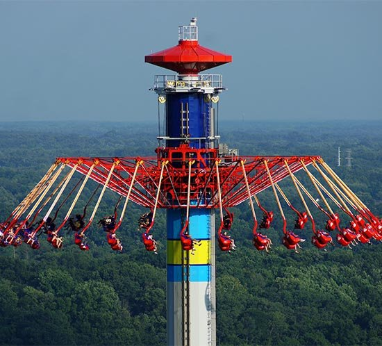 The WindSeeker at Cedar Point is manufactured by Mondial Rides and list by an FTS 370d aviation tower lighting system.