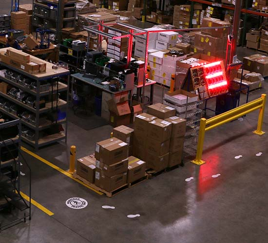 Flash employs pedestrian and forklift traffic lanes as well as padded rubber matting to alleviate joint stress and the chance for electric shock in our manufacturing production lines.