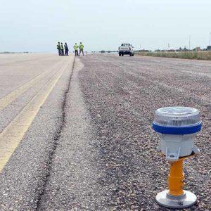 A650 runway threshold lights at Kaduna Airport in northwestern Nigeria
