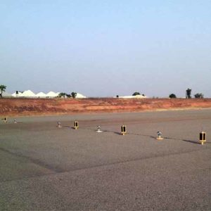 A704 runway lights installed for nightime visibility to keep the Yola Airport in Admanwa, Nigeria open at night