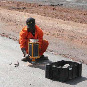 An airport employee installs an A704 at Akanu Ibiam International Airport in Enugu, Nigeria
