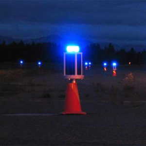 Solar taxiway lights at Elmendorf Air Force Based in Alaska