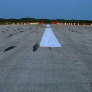 Runway lights at Staniel Cay Airport in the Bahamas