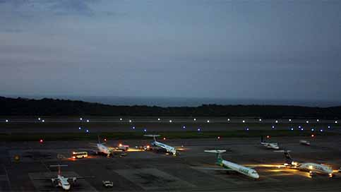 Runway lights and taxiway lights at a South American airport