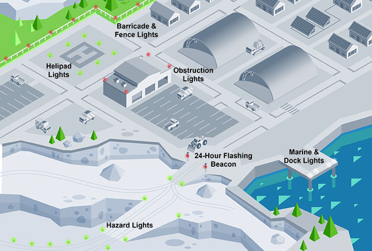 Illustration of mining site lighting