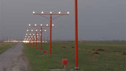 Airport approach lights on masts