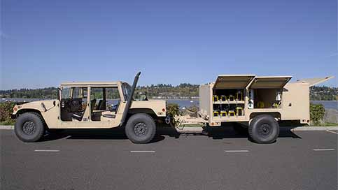 An expeditionary lighting system (EALS) trailer hooked up to a Humvee