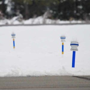 A650 solar airifeld lights mounted on retroflective poles ensure lights remain visible in snow prone areas