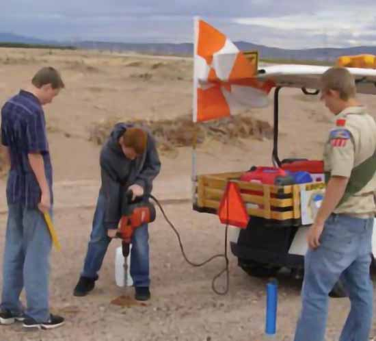 Eagle Scouts install airfield lighting as part of a Leadership Challenge