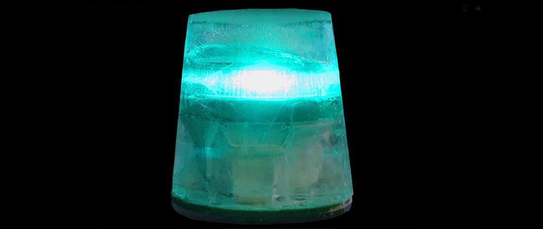 An A650/M650/OL4 solar warning light in an ice block