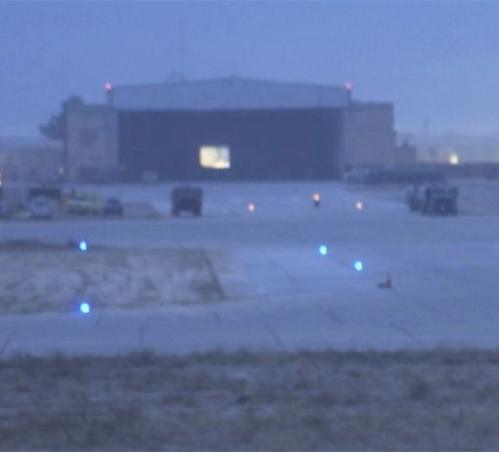 portable airfield lights at a USMC air base