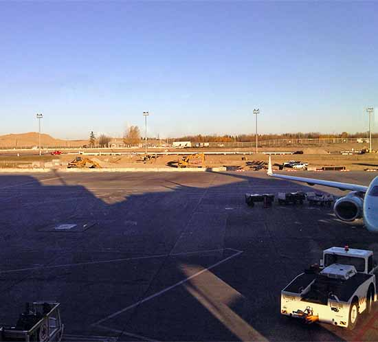 Calgary Airport construction, to add new concourse and solar airport lights