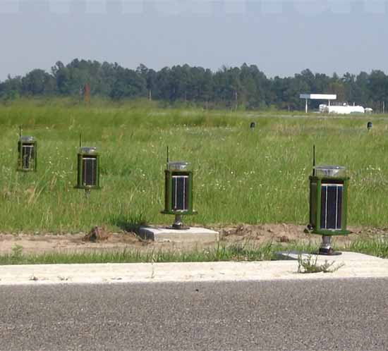 solar infrared runway lights installed at a USA air base
