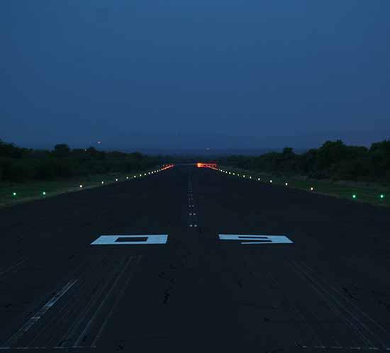 Solar airport lights at Ellisras Airport in Africa