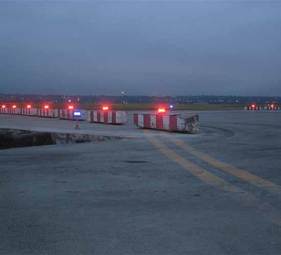 airport construction zone barricade lights