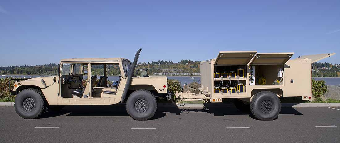An expeditionary airfield lighting system (EALS) trailer hooked up to a Humvee