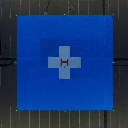 A704-VL helipad lights mark the perimeter of an temporary emergency helipad in Albuquerque, New Mexico