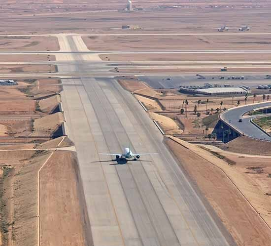 A runway at King Khalid International Airport